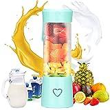 podazz mini frullatore portatile personale per frutta e verdura, frullatore per frutta ricaricabile usb con 6 lame, per succhi, verdura, frappè, frullato - 450 ml / 15 once (blue)
