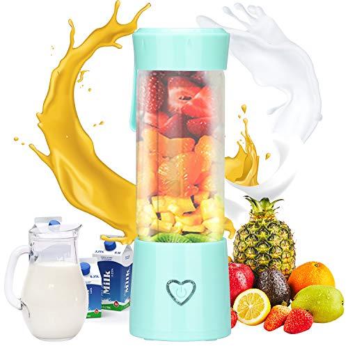 Podazz Mini Licuadora Personal Portátil de Frutas y Verduras, Licuadora de Frutas Recargable USB con 6 Cuchillas, para Jugo, Verdura, Batido, Batido-450ml / 15oz