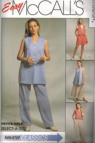 Misses Front Button Boxy Vest Pull On Pants Shorts Full Skirt Sewing Pattern Elastic Waist McCall 8213 Easy (10-12-14)