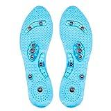 GAOWF Semelles De Massage Magnétique Unisexe Coussinets De Chaussures D'acupression des Pieds Thérapie Semelles Minceur pour Perte De Poids Transparent,Bleu,29CM 44to48