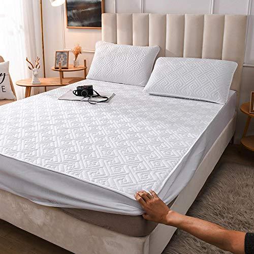 YFGY sabanas Cama Doble Blanco B, Colcha de Hotel de algodón de Color sólido, Funda de colchón Antideslizante Gruesa para apartamento de Dormitorio 160x200cm + 35cm