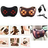 Electric Massage Pillow Shiatsu, Massager Heat Cushion Kneading, Muscle Pain Relieve for Lumbar Back Neck Shoulder Cervical Waist, Deep Tissue Kneading Massager for Car Home Office Use (Black)