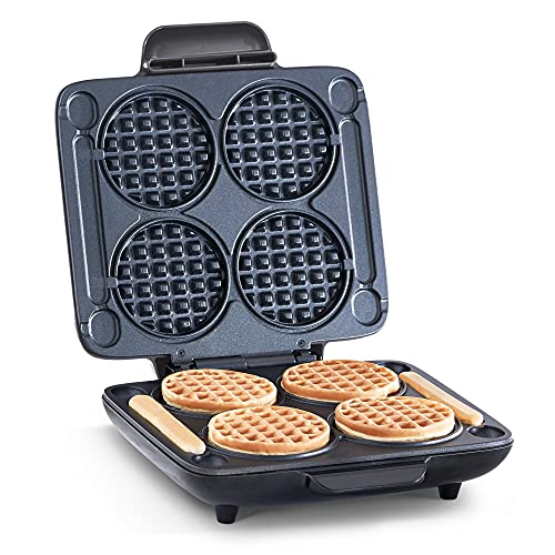 DASH DMMW400GBGT04 Multi Mini Four Waffle Maker: Perfect for Families and Individuals, 4 Inch Dual Non-stick Sides with Quick Release & Easy to Clean, Graphite