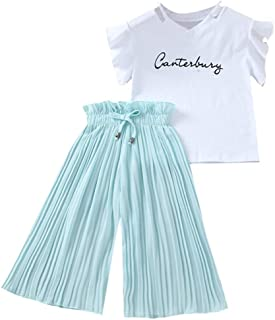 Baby Girl Clothes Newborn, Children Kids Letter Printed T-Shirt Tops+Ruffle Pants Outfits Set