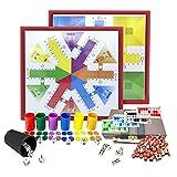 EUROXANTY Set di giochi da tavolo classici   Parchini, Domino, Bingo e Dadi da Poker   Include accessori   35...