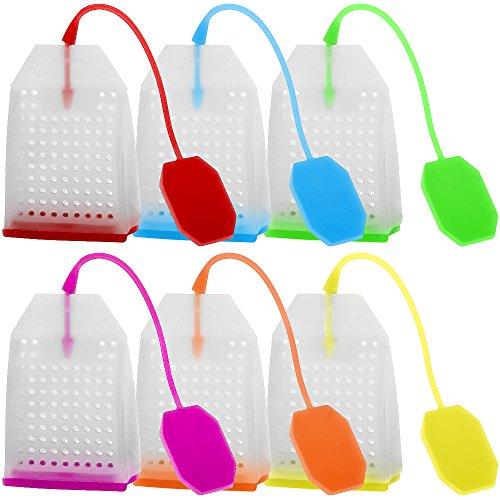 FineGood 6 Pack Silikon Infuser, TeefilterWiederverwendbare Safe Loose Blatt Tee Beutel Filter mit Sechs Farben
