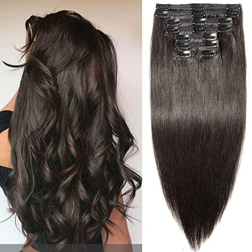 TESS Clip in Extensions Echthaar Haarteile guenstig Haarverlängerung Doppelt Tressen für komplette Haarextension 8 Teile 18 Clips Glatt 7A Dick Hair (60cm-170g, 1B Naturschwarz)