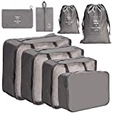 Meowoo 8 Pieces Packing Cubes Reusable Waterproof Large Capacity Lightweight Travel Storage Suitcase