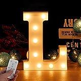 Letra LED de alfabeto con temporizador inalámbrico, mando a distancia, regulable, decoración para...