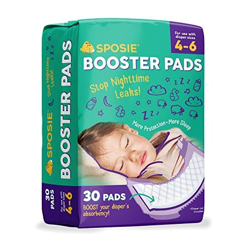 Sposie Booster Pads Diaper Doublers, 30 Pads - for Overnight Diaper Leaks, No Adhesive for Easy...