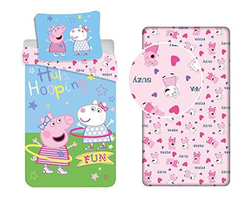 LesAccessoires Peppa Pig - Juego de funda de edredón de 140 x 200 cm + funda de almohada + sábana bajera ajustable de 90 x 200 cm, color rosa