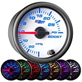 GlowShift White 7 Color 30 PSI Turbo Boost/Vacuum Gauge Kit - Includes Mechanical Hose & T...