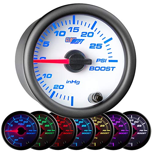GlowShift White 7 Color 30 PSI Turbo Boost/Vacuum Gauge Kit - Includes Mechanical Hose & T-Fitting - White Dial - Clear Lens - for Car & Truck - 2-1/16