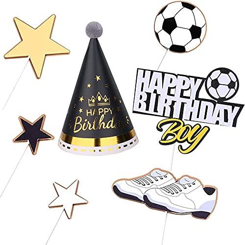Cake Torte Topper, 7 Stück Geburtstagstorte Dekoration, Kuchen Topper Tortenstecker, Tortendeko Fussball, Happy Birthday Fußball Cake Topper mit Partyhüte für Junge Kind, Babydusche, Partydekoration