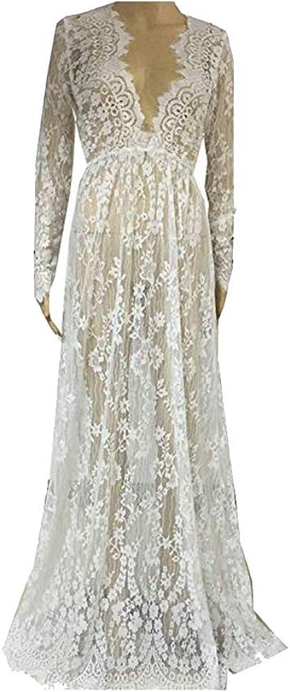 Backgarden Women Floral Lace Deep V-Neck Long Sleeves Bridesmaid Maxi Dress