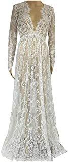 Backgarden Floral Lace See-Though Deep V-Neck Long Sleeves Bridesmaid Maxi Dress w/Necklace