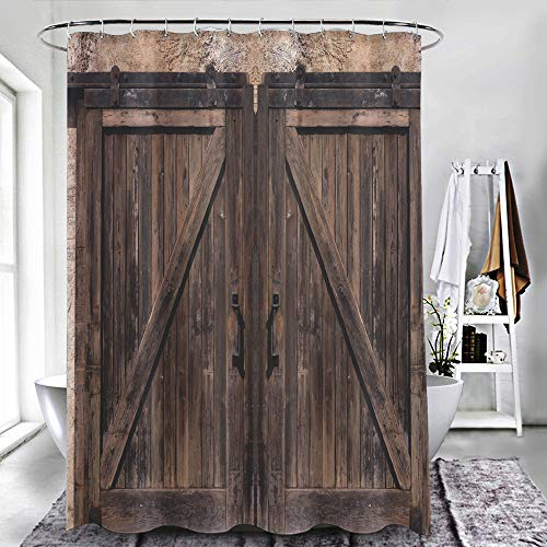 "ZXAWT Brand Waterproof Bathroom Shower Curtains Old Sliding Wooden Door(48"" W x 72"" H)"