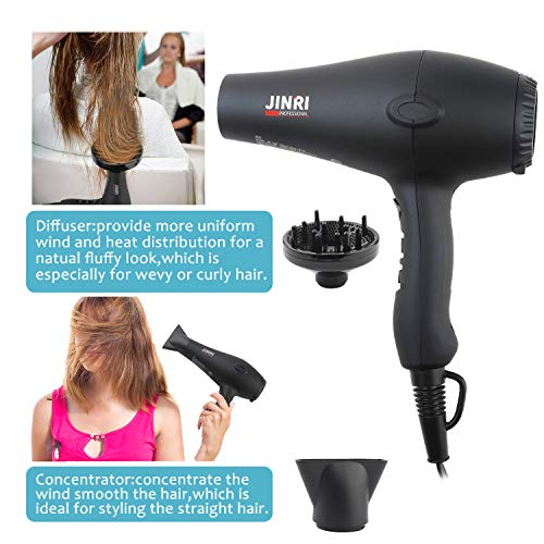 1875w Professional Tourmaline Hair Dryer,Negative Ionic Salon Hair Blow Dryer,DC Motor Light Weight Low Noise Hair Dryers with Diffuser