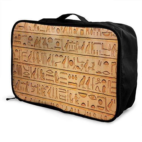 Bolsas de Maleta Egyptian Hieroglyphics Stone Carving Travel Lightweight Waterproof Foldable Storage Carry Luggage Duffle Tote Bag Large Capacity In Trolley Handle Bags Overnight Bag