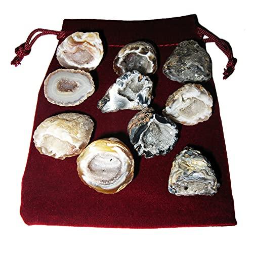 Feen-Garten Achat Geode 21 teiliges Set 'L'. 10 x ECHTE polierte Kristall-Drusen a je ca. 3-3,5 cm mit 10 x Beschreibungen + Täschchen. 60023