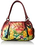Anna by Anuschka Women's Genuine Leather Ruched Hobo Shoulder Bag | Original Artwork | Mediterranean Garden
