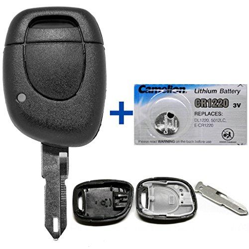 Auto Schlüssel Funk Fernbedienung 1x Gehäuse + 1x Rohling NE73 + 1x CR1220 Batterie für Renault
