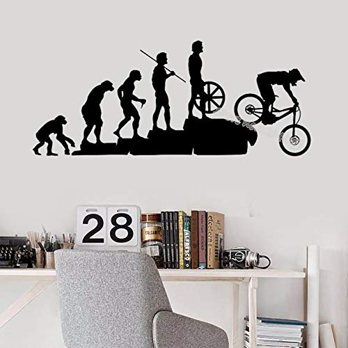 xinyouzhihi Evolución del Hombre Darwin Mountain Bike Pegatinas de Pared Decoración de la Pared del hogar Dormitorio Infantil Dormitorio Papel Pintado extraíble niño Adolescentes Mural 98x42cm