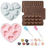 FineGood Moldes de chocolate con forma de corazón de chocolate, moldes de silicona para magdalenas, moldes de silicona para hornear, número de alfabeto, moldes de gelatina y dulces