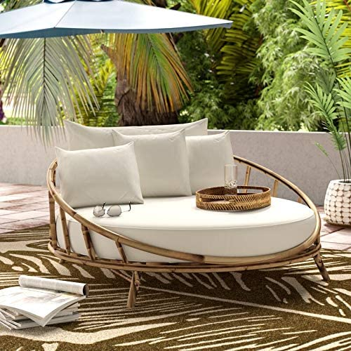 ZEW Bamboo Round Daybed Outdoor Indoor Large Accent Sofa Chair Lawn Pool Garden Seating with product image
