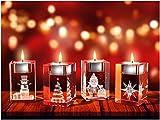 GLASFOTO.COM, Weihnachten Teelichthalter, 50 x 80 x 50 mm, Kristallglas 3D Innengravur in Premiumqualität (50 x 80 x 50 mm Adventsteelichtset 7)