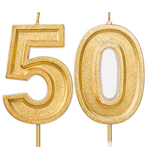 LUTER 2.76 Inches Large Birthday Candles Gold Glitter Birthday Cake Candles Number Candles Cake Topper Decoration for Wedding Party Kids Adults, Number 50