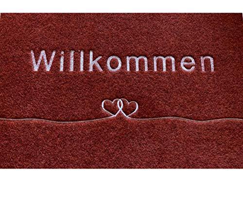 Majo Lifestyle Fussmatte - Premium robuste Anti-rutsch Fußmatte für außen/innen - 40x60 cm - weiche Schuhmatte - Polyester Schmutzfangmatte - Fussmatten Haustür - Geschenk (rot-braun)