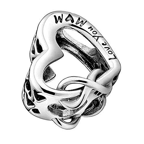Abalorio de plata de ley 925, ideal para pulsera y collar con texto en inglés 'Love You Mum'