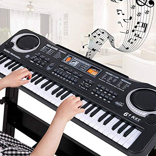 Teclado Electrónico de 61 Teclas para Niños, Teclado de Piano de Enseñanza Interactivo Musical Electrónico con Batería o Carga USB con Manual
