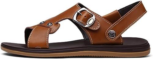 Sandales Boucle réglable en Cuir Cuir Cuir Sandales paniers paniers été Pantoufles Set Style Cuir Confortable Sport Travel Chaussures de Plage Sandales (Couleur   Marron, Taille   41 EU) d74