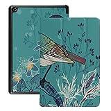 Cubierta Protectora de Kindle Hd8 (2018/2017 lanzada, 8a / 7a generación) Ilustración Vectorial Little Bird Wild Herbs Estuche para la Nueva Tableta Hd8