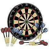 """Tian ma Sisal Bristle Dartboard 17.7""""x1.5 Staple-Free Bullseye w 12 Steel Tip Darts 18g Dartboard Mounting Kits Included"""