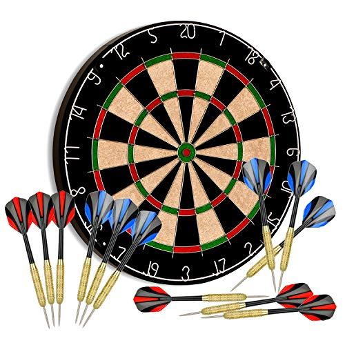 "Tian ma Sisal Bristle Dartboard 17.7""x1.5 Staple-Free Bullseye w 12 Steel Tip Darts 18g Dartboards Mounting Kits Included"
