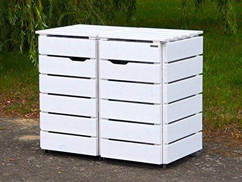 2er Mülltonnenbox / Mülltonnenverkleidung 120 L Holz, Deckend Geölt Weiß - 2