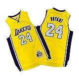コービーブライアントブラックマンバロサンゼルスレイカーズ24# Kobe Bryant Black Mamba Los Angeles Lakers 24# 神戸ブライアントブラックマンバジャージー、レイカーズ24#レトロ記念版神戸バスケットボールジャージ、ユースソウルスウィングマンジャージーTシャツ(S-XXL) yellow-XL