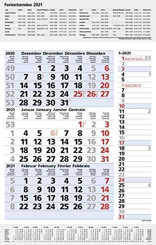 3-Monats-Planer Combi Blau 2021: 3-Monatskalender groß I Wandplaner / Bürokalender mit Datumsschieber, Ferienterminen, Vor-und Nachmonat und ... I extra Streifenplaner I 30 x 47,8 cm
