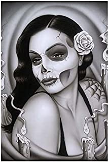 Day of The Dead Aria Spider Framed Art Print Sexy Mexican Sugar Skull Pinup Girl
