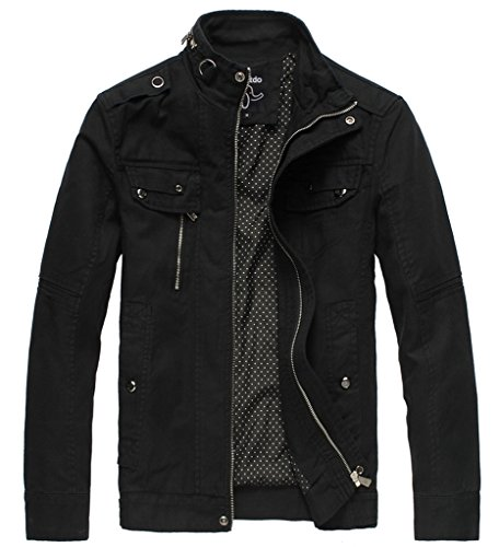 Wantdo Men's Cotton Stand Collar Lightweight Front Zip Jacket Black,Medium