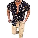 Camisa de Manga Corta con Estampado gráfico Retro 3D de Verano Elegante para Hombre L