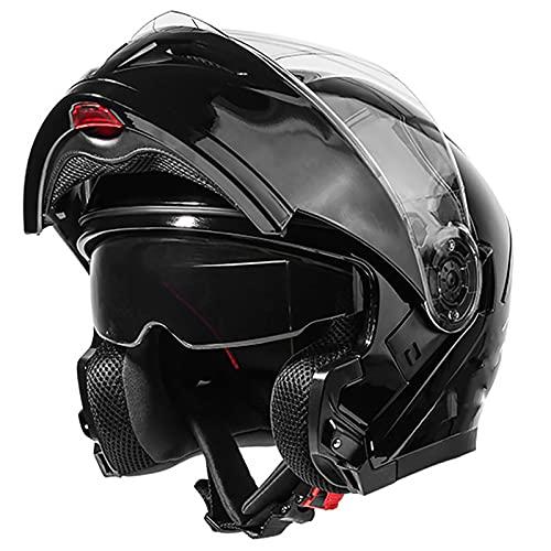 Casco para Motocicleta, Casco Abatible Frontal para Motocicleta con Doble Visera, Casco Antiniebla Certificacion DOT/ECE para Hombres Adultos I,XXL=63~64CM