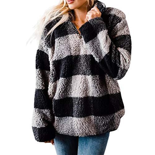 KPILP Damen Teddy-Fleece Mantel Pullover Vintage Kariert Hoodie Langer Fleecemantel mit Reißverschluss Stehkragen Warm Winterpullover Locker Outerwear Taschen Sweatshirt