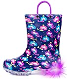 HugRain kids Girls Rain Boots Toddler Light Up Printed Waterproof Shoes Lightweight Adorable Cute Purple Mermaid Rubber with Easy-On Handles and Insole (Size 13,Purple)