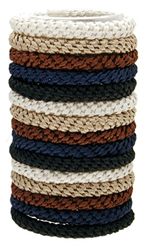 L. Erickson Grab & Go Ponytail Holders, Neutral, Set of Fifteen - Exceptionally Secure with...