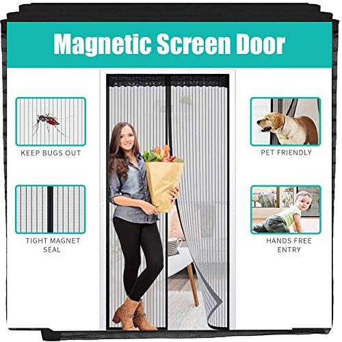"""Magnetic Screen Door, YAPENG Heavy Duty Bug Mesh Curtain with Powerful Magnets and Full Frame Sticker, Insect Protection Door No Gap, Keep Bugs Out Lets Fresh Air in 39""""83"""""""
