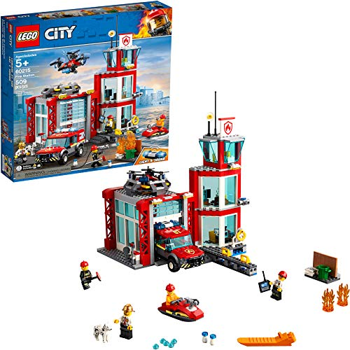 small LEGO City Fire Department 60215 Fire Rescue Tower Construction Kit with Toys for Emergency Vehicles …